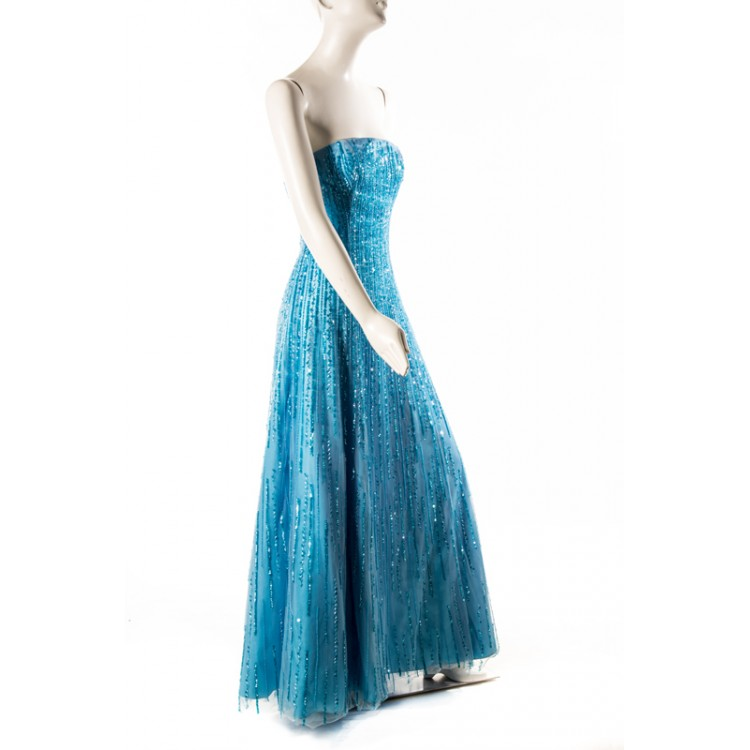 Vintage Lillie Rubin Blue Waterfall Sequin & Tulle Gown