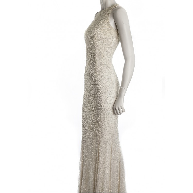 Lillie Ruben Seed Pearled Evening Gown